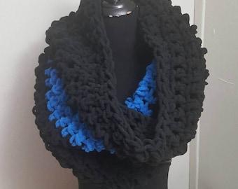 Thin Blue Line Scarf, Blue Line Scarf, Infinity Scarf, Chunky Scarf, Chunky Crochet Scarf, Oversized Scarf, Chunky Crochet Cowl