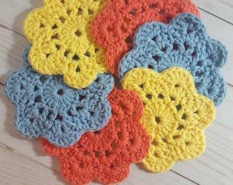 Crochet Coasters, Cotton Coasters, Retro Coasters, Flower Coasters, Cotton Flower Coaster {set of 6}