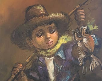 Vintage 'big eye' painting - Boy with fish