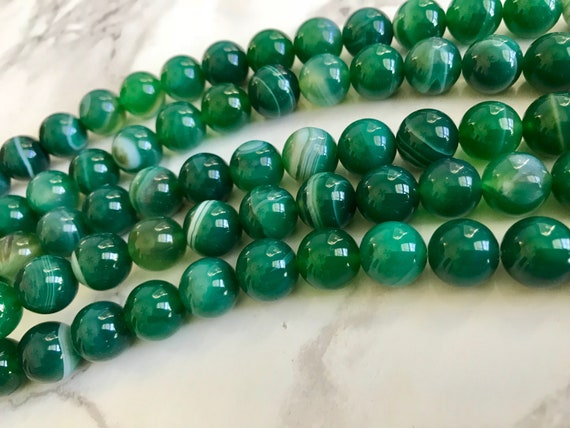 Banded Agate Round Beads 8mm Teal Green//Black 45 Pcs Gemstones Jewellery Making