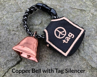 Copper Cow/Dog Bell with Dog ID Tag Strap with Tag Silencer  Hiking/Hunting/Walking/Wandering Senior/Animal