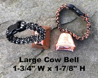 Large Copper Cow/Dog Bell with Dog ID Tag Strap Hiking/Hunting/Walking/Wandering Senior/Animal
