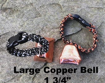 Large Copper Cow/Dog Bell and Dog ID Tag Strap Hiking/Hunting/Walking/Wandering Senior