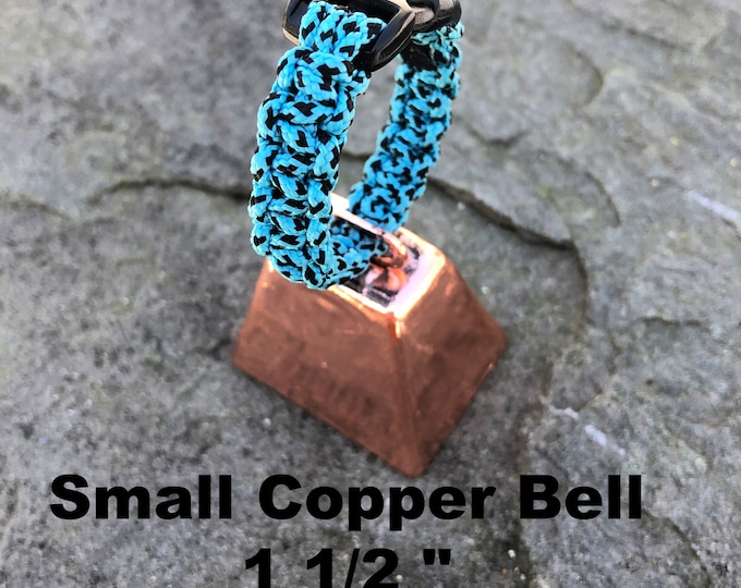 Small Copper Cow/Dog Bell and Dog ID Tag Strap Hiking/Hunting/Walking/Wandering Senior