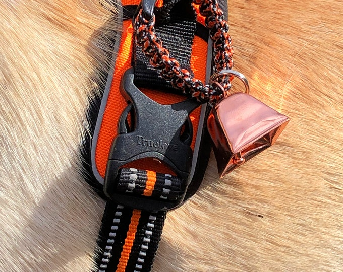 Small Copper Cow/Dog Bell and Dog ID Tag Strap Hiking/Hunting/Walking/Wandering Senior - Free Shipping