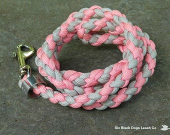 SALE! 3 Foot Pink/Gray Swivel Snap Bolt Leash  Free Shipping!