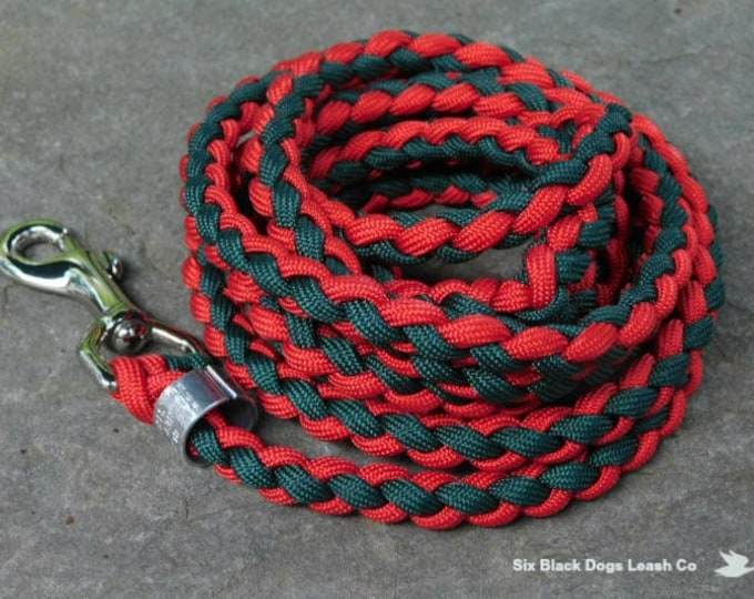 5' Red and Green Snap Bolt Leash