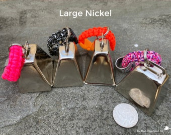LIMITED EDITION - Large Nickel Bells on Paracord Clips - Hiking, Hunting, Walking, Deaf and Senior Dogs - Free Shipping