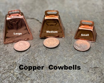 Large Copper Cow/Dog Bell with Dog ID Tag Strap Hiking/Hunting/Walking/Wandering Senior/Animal - Free Shipping