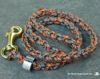"24"" Multi Orange/Gray Thumb Loop Leash with Swivel Brass Snap Bolt"
