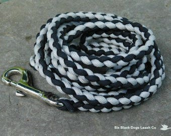 SALE! 6' Black/Gray Snap Bolt Leash  Free Shipping!