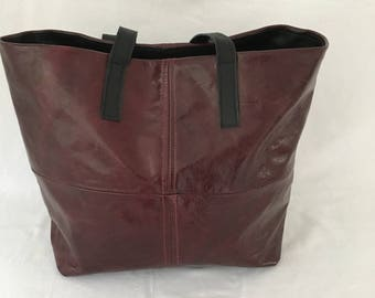 Leather Tote  Bag Wine/Black