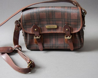 e84849d2f921 Vintage 80s Tartan Oxblood and Brown Satchel