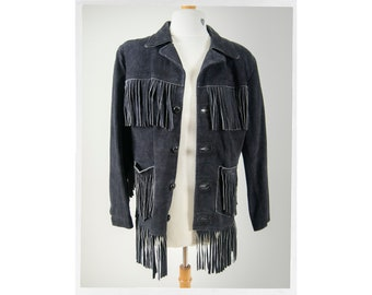 authentic funky style leather jacket Vintage black leather fringe jacket 80s leather jacket cosa nova 70 s style 90 s leather jacket