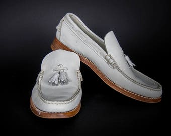 05a81279db0 Vintage 50 s White Leather Handcrafted Preppy Penny Loafers