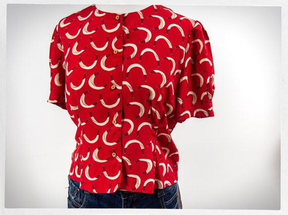 Vintage 90s Blouse, Retro Red Blouse, Red Geometri