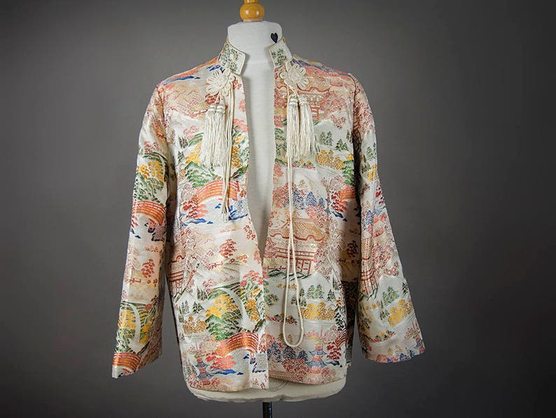 3d4a57a4e Vintage 50's Asian Pattern Jacket Ladies, Retro 40's Ladies Oriental  Smoking Jacket, Free Shipping to Canada and U.S.A