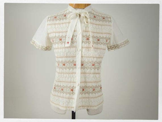 Vintage 60s Blouse, Adorable 60s Blouse with Hand