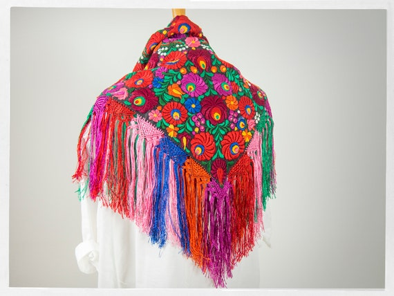 Vintage 90s Shawl, Stunning  Mexican Floral Embro… - image 1