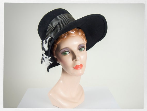 Vintage 60s Hat, 60s Wide Brim Hat, 60s Statement