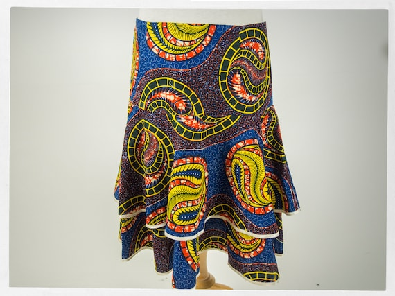 Handmade African Wax Print Skirt, Beautiful Wax Pr