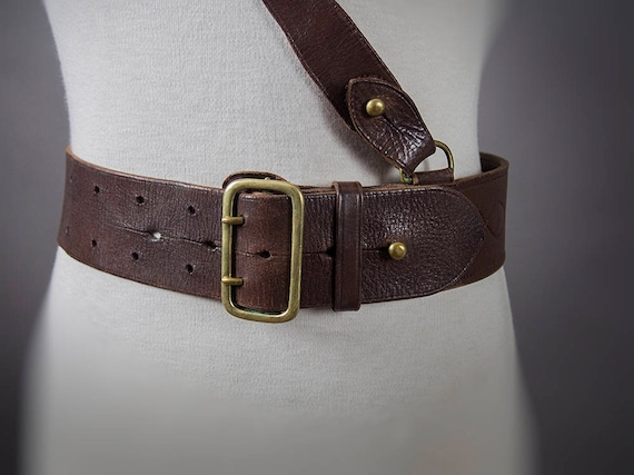 Vintage 40s Belt, Leather Cross Body Officers Belt