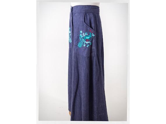 Vintage 80s Skirt, 80s Denim Skirt, Retro Hippie S