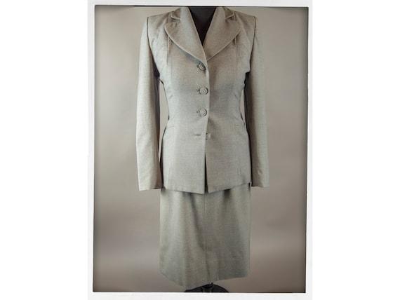Vintage 50s Suit, Fitted Grey Wool Ladies Suit, Vi