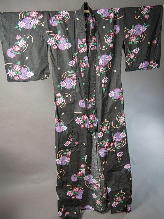 Vintage 90s Kimono, Cotton Floral Kimono, Japanese