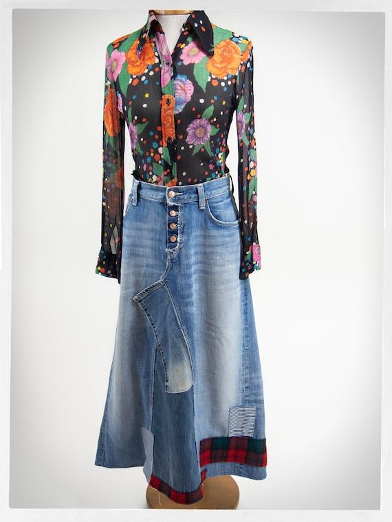 Handmade Patchwork Skirt, Patchwork Denim Skirt, … - image 2