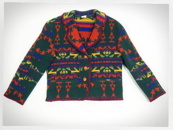 Retro 90s Blanket Coat, Southwestern Coat, BENETTO