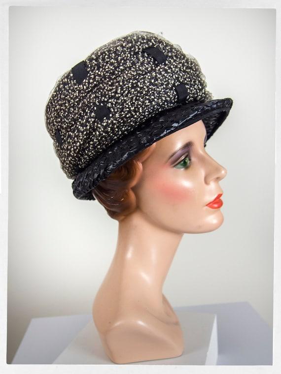 Vintage 60s Pill Box Hat, Vintage 50s Hat, 60s Str