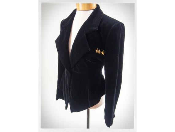 Retro 80s Jacket, 80s Black Velvet Jacket, Velvet