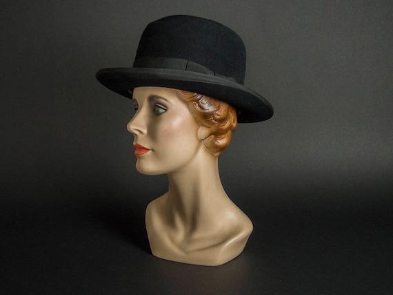 Vintage 20s Bowler Hat,20s Fur Hat, Vintage 20s Br