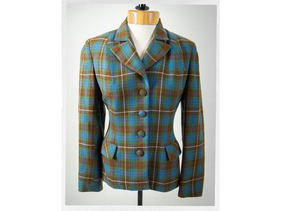 Vintage 50s Jacket, 50s Tartan Jacket, 50s Fitted