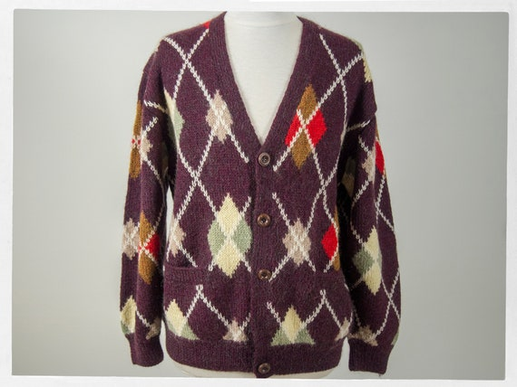 Wool Argyle Knit Cardigan, Vintage 70's Classic Am