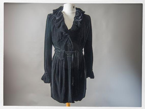 Vintage 90s Velvet Coat, Gorgeous Black Velvet Coa