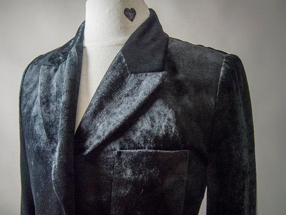 Retro 80s Velvet Jacket, Black Silky Jacket, Fitt… - image 3