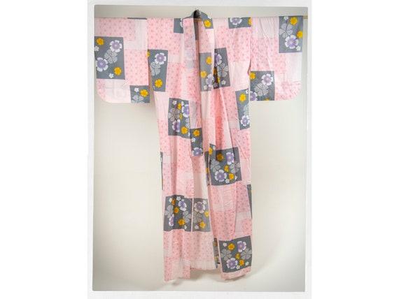 Retro Cotton Kimono,  Dressing Gown, Floral Cotton