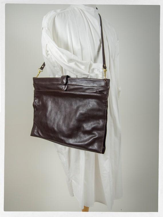 Vintage 80s Satchel, Huge Brown Leather Satchel, … - image 7