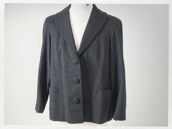 Vintage 40s Wool Jacket, 40s Black Wool Loose Fit
