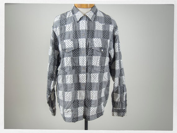 80s Retro Shirt, Vintage 80s Quilted Shirt, 80s We