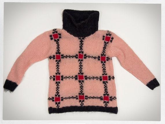 Vintage 60s Sweater, 60s Ski Bunny Jumper, Knit It
