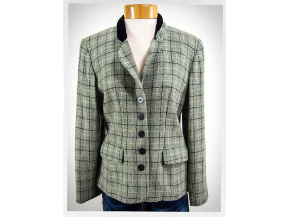 One Button Check Jacket Brown Jacket Vintage 80s. Size 8 US Women/'s Plaid Wool Jacket