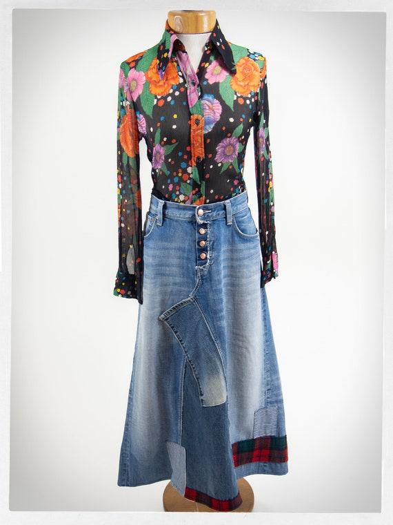 Handmade Patchwork Skirt, Patchwork Denim Skirt, … - image 8