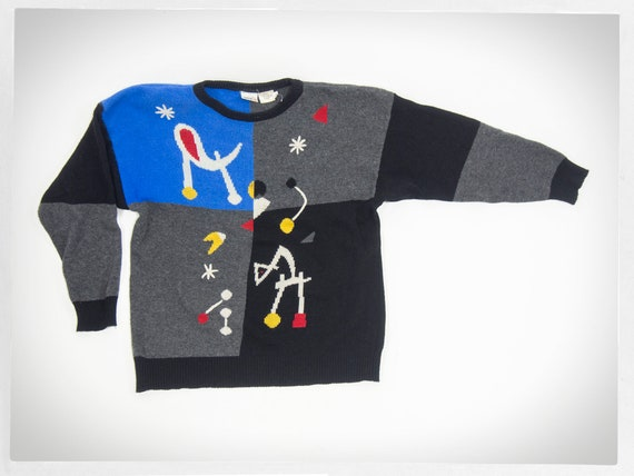Vintage 80s Sweater, Retro 90s Jumper, 80s Abstrac