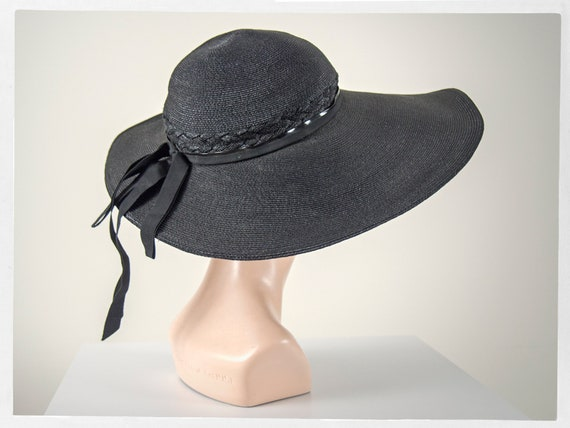 Vintage 40s Hat, Made in U.S.A, 40s Black Sun Hat,