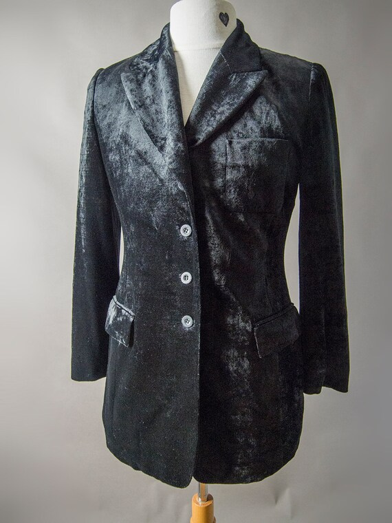 Retro 80s Velvet Jacket, Black Silky Jacket, Fitt… - image 2