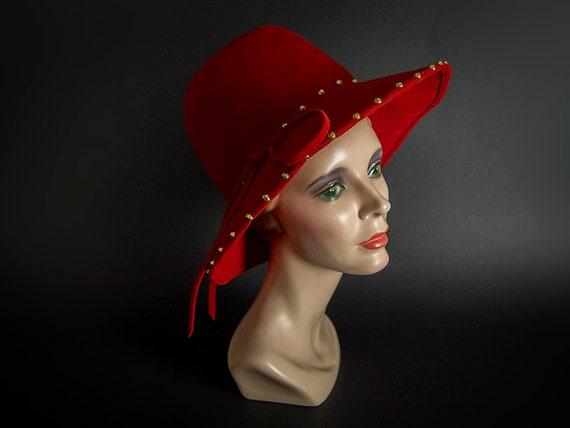 """Retro 70s Hat, """"JACKIE O"""" Brimmed Hat, Vintage 70s"""