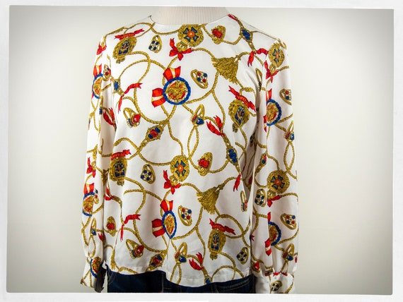 Retro 80s Blouse, 80s Nautical Blouse, 80s Silky B